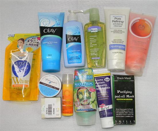 An assemblage of misc. skin care products incl. body sorbet, face wash, cleanser etc.