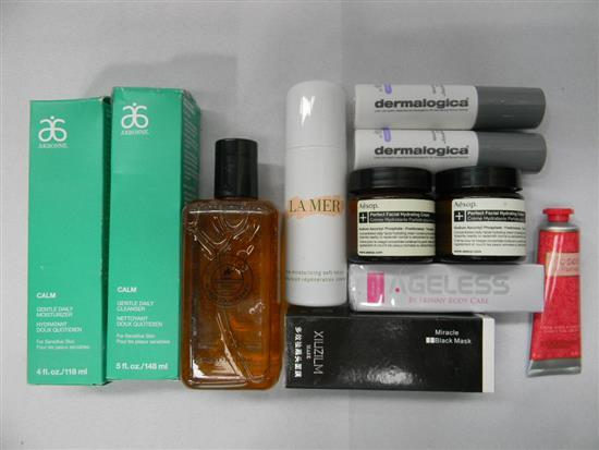 A bag of designer skin care products incl La Mer, Aesop, Aronne etc.