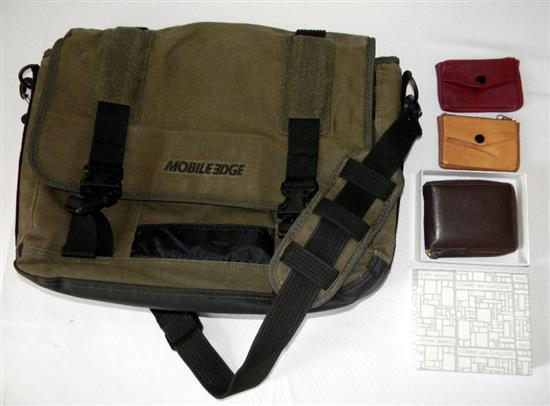 A Mobile Edge laptop satchel (used) plus mens wallet etc.