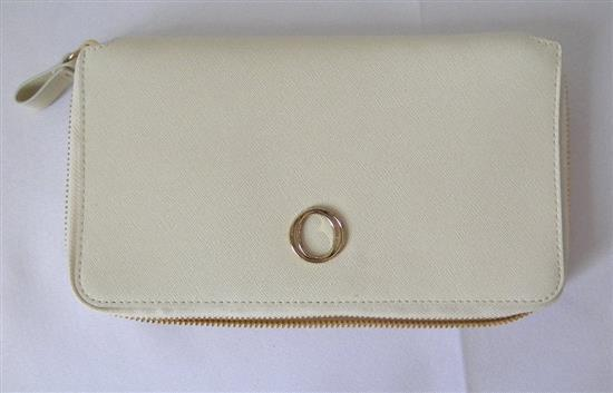 A cream leather Metier travel wallet marked Oroton (Recommend retail Price $345)