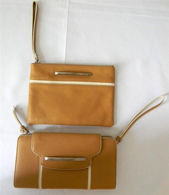 Two tan leather ladies wallet/clutches marked Mimco