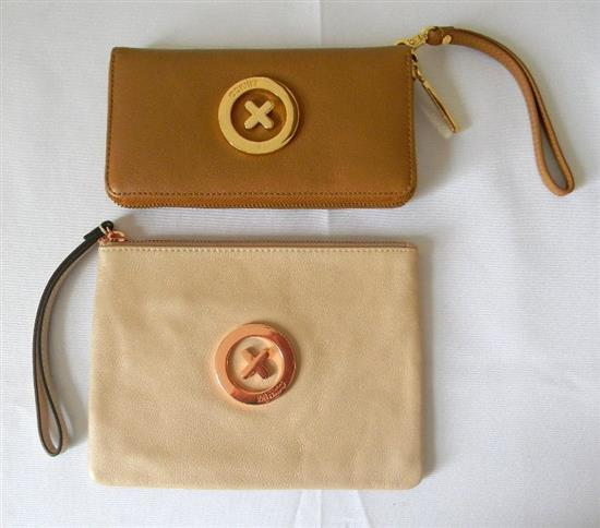 Two various tan leather ladies wallet/clutches marked Mimco