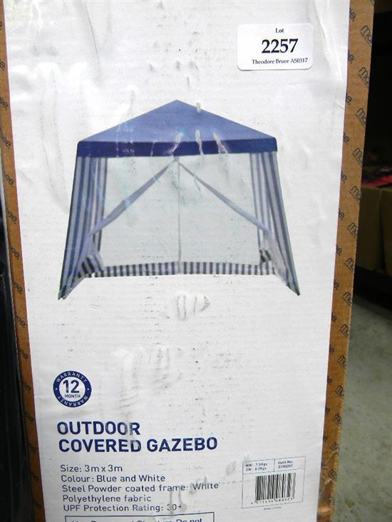 A Blue and White Gazebo