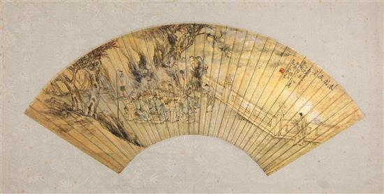 Ink & Colour on Fan Leaf Paper, Signed Ge Zun [1821-1908], April 1886, & red seal