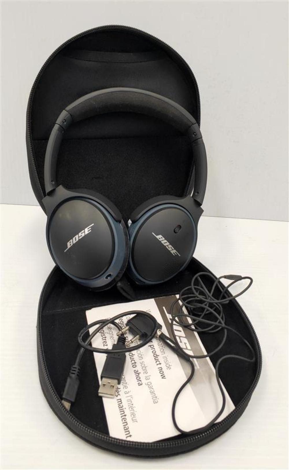 A pair of wireless headphones marked Bose, with cables