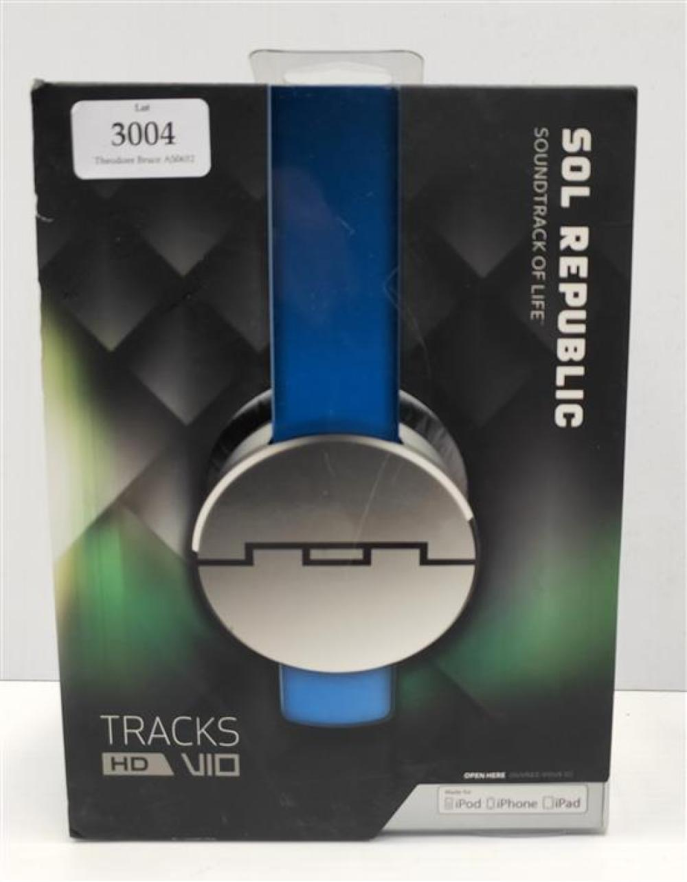 A pair of headphones marked SOL Republic Tracks HD VIO in sealed box