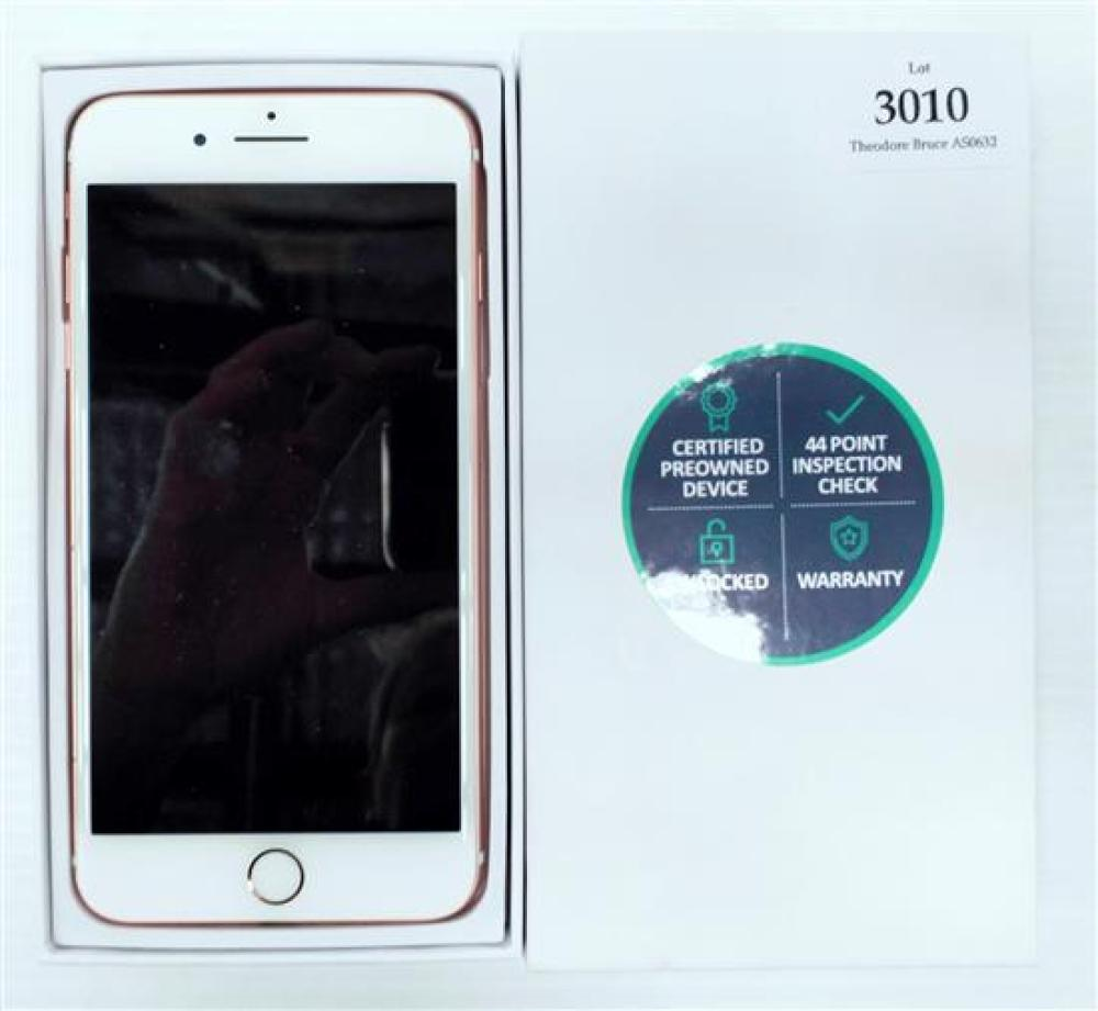 A smart phone marked Apple iPhone 7+ 128 GB in after market box