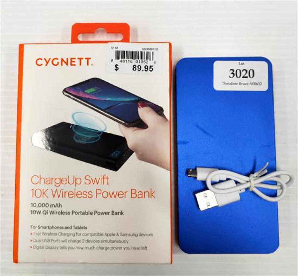 A wireless power bank marked Cygnett 10000mAh plus another