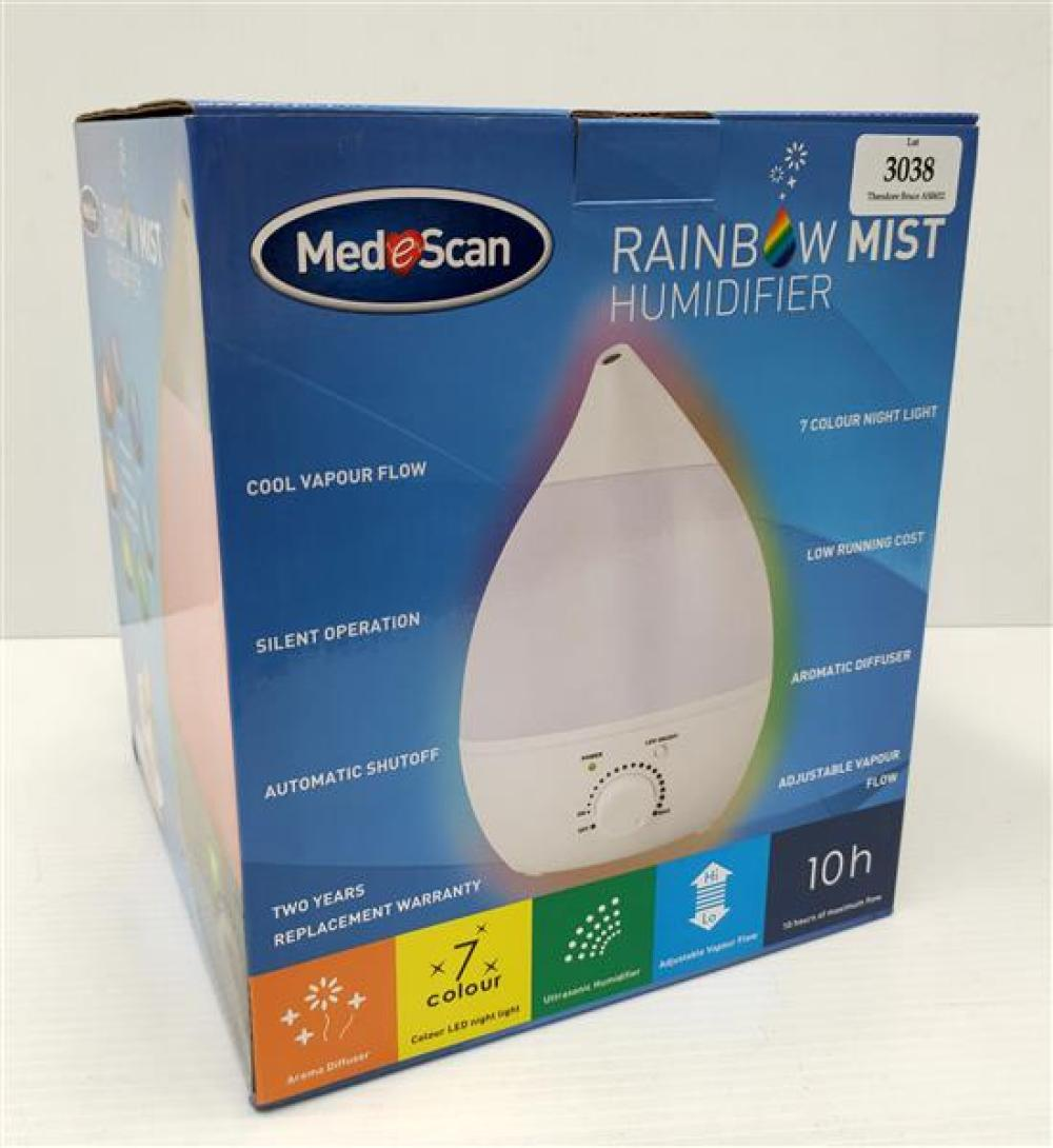 A humidifier marked Mediscan Rainbow Mist in sealed box