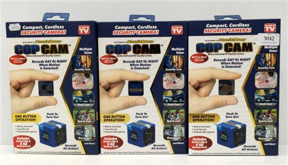 Three min action cams marked Cop Cam in sealed boxes