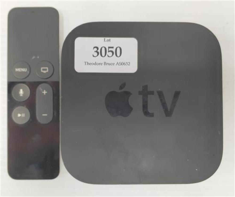 A TV streaming device marked Apple TV plus remote, no cables