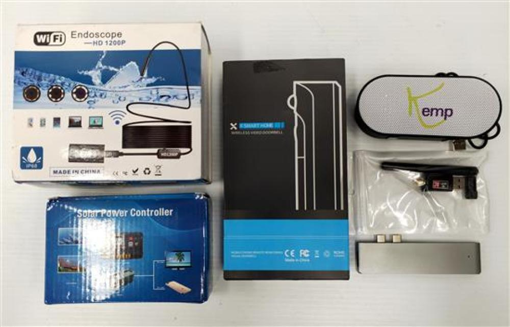 An assortment of electrical devices incl. wireless door bell, endoscope HD1200P