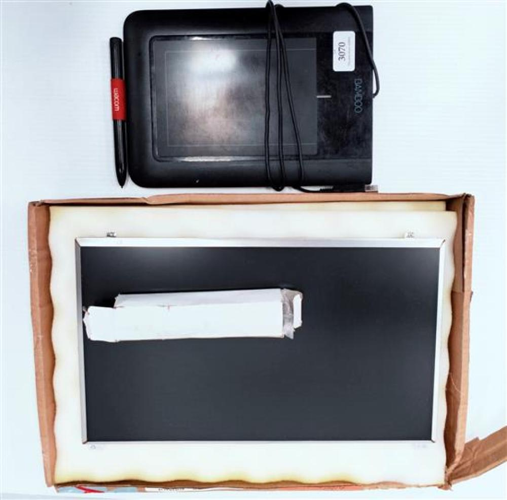 An assortment of PC accessories incl. Wacom Bamboo Pad & replacement LCD monitor