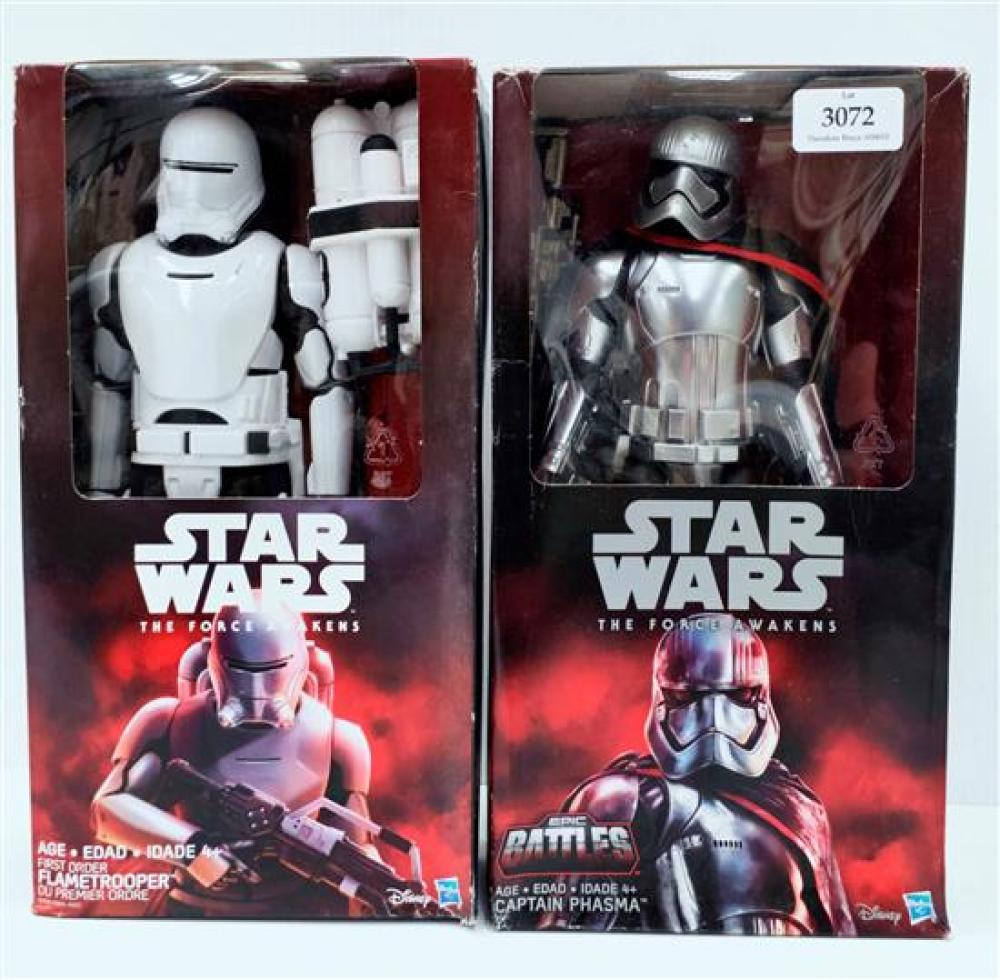 Two figurines marked Star Wars The Force Awakens, Flametrooper & Captain Phasma in sealed boxes