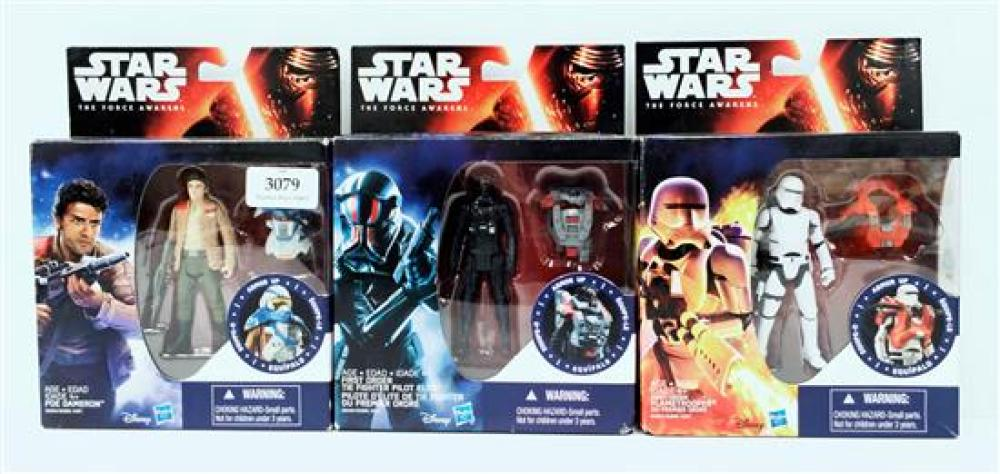 Three figurines marked Star Wars incl. Poe Dameron, The Figter Pilot Elite & Flametrooper