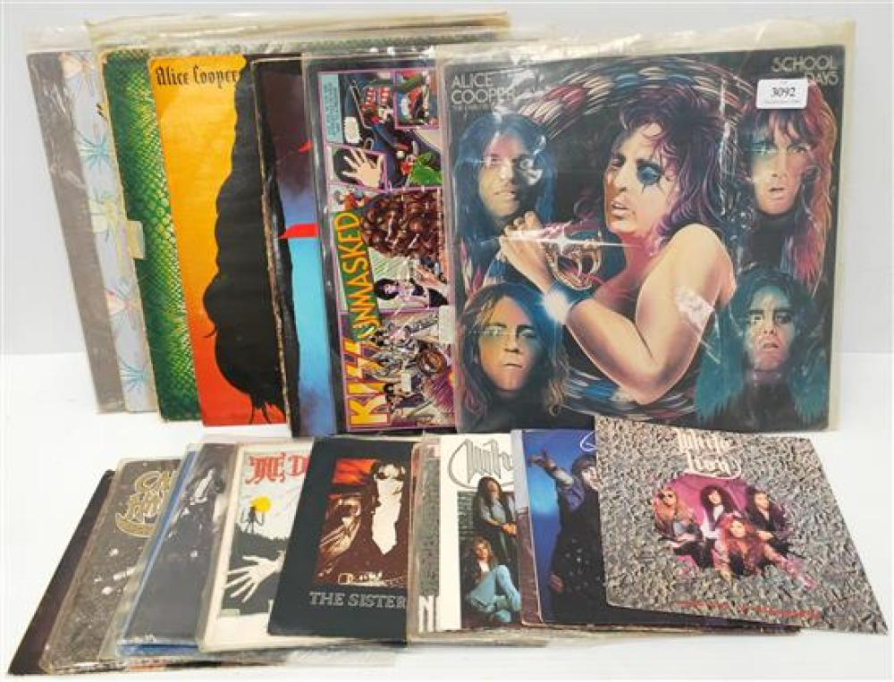 A large collection of 70' singles & LP's incl.  Alice Cooper (signed) etc.