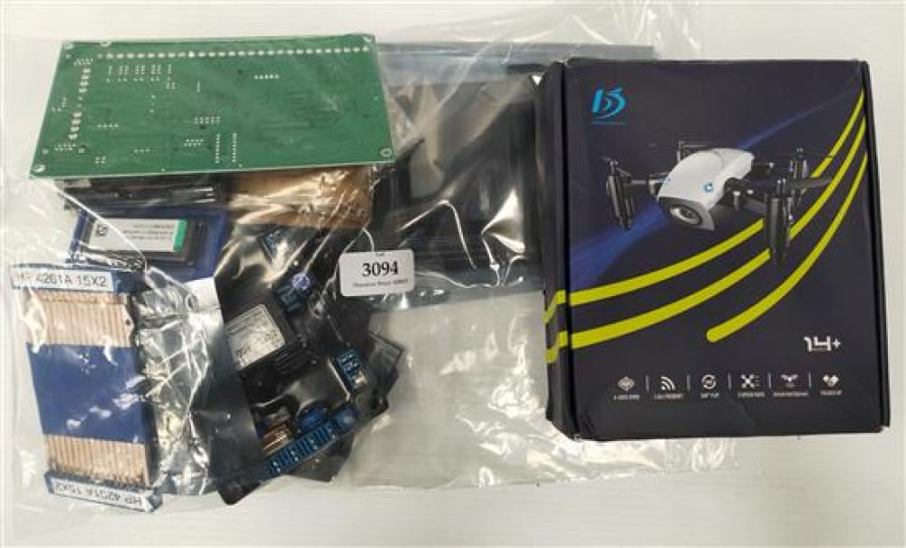 A selection of electrical boards & quad copter marked Broadream in open box