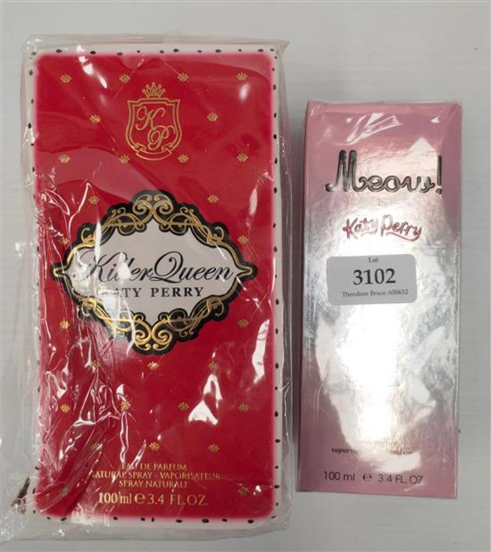 Two womens fragrances marked Katy Perry Killer Queen & Meow