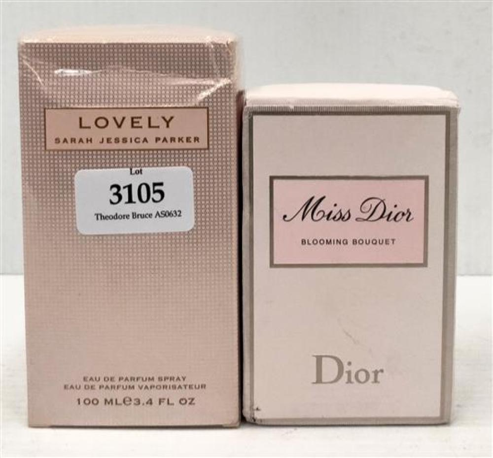 Two scents marked Miss Dior Blooming Bouquet edt 100ml & Lovely by SJP Perfume 100ml