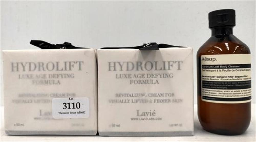Three beauty products incl. Aesop & Lavie Hydro Lifts