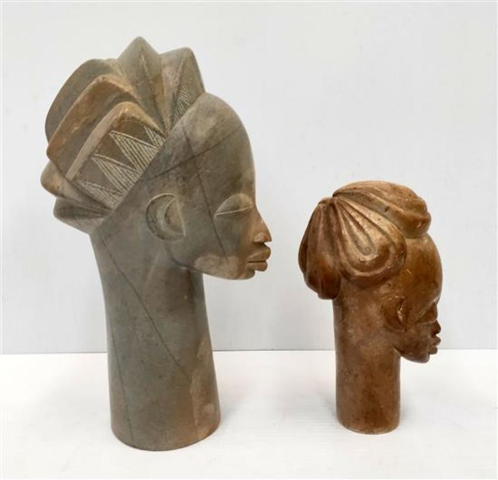 Two African soap stone busts