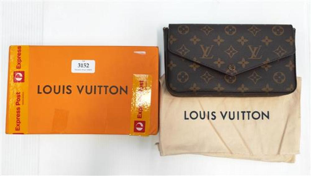 A designer ladies wallet marked LV with purse, with box