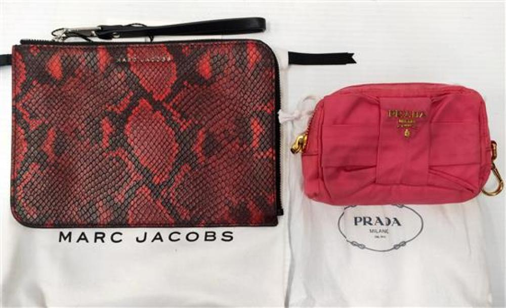 A red snake multi bag marked Marc Jacobs & pink purse marked Prada