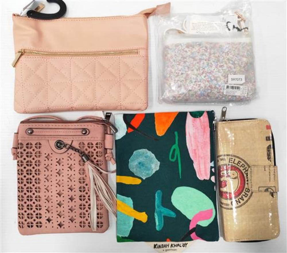 An assortment of ladies wallets & bags