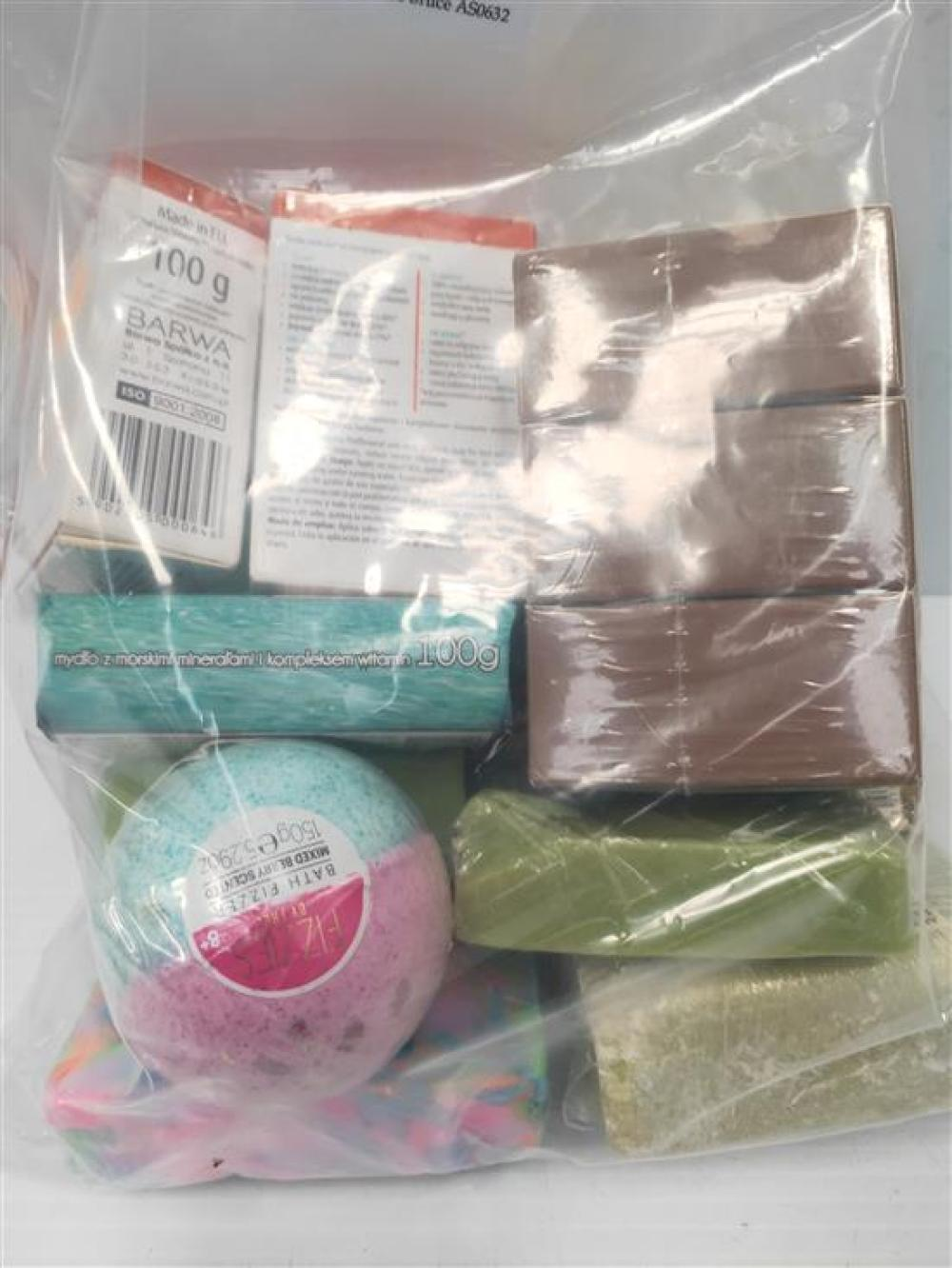 A bag of assorted soaps & bath bombs