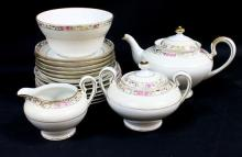 An Incomplete Noritake Teaset including Teapot, Five [5] Cups Creamer, Sweetener, Six [6]Saucers & Teaplates with Bowl