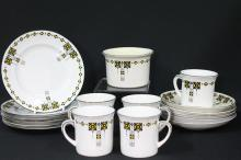 An Art Deco E.Brain Floey China Part Coffee Set of 17 pieces