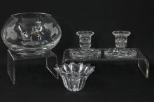Two Chequered Diamond Cut Glass Candle Holders, Mikasa Lead Crystal Candle Holder and a Gleneagles Crystal Vase Decorated with Image...