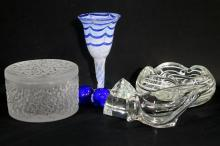 A Collection of Glass Pieces including Trinket Box, Ashtray, Glass
