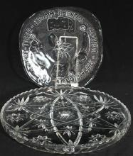 A Pressed Glass Platter & Cheese Plate, circa 1970s