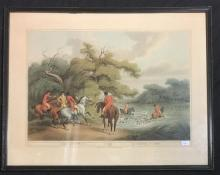 Stag Hunting 2, framed reproduction print