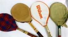 Four Mid 20th Century Tennis Raquets & covers