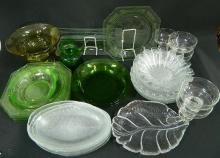 A Collection of Glassware including Plates, Dishes, Vase