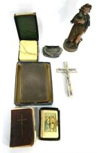 A Collection of Religious Items including Bibles, Crosses & Statues,