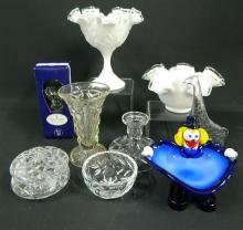 A Collection of Glassware including Bowls, Candle Holder