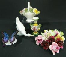 A Royal Doulton Flower Basket, a Nao Duck, a Butterfly & Ceramic Flowers
