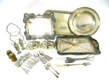 A Collection of Silver Plate including Trays, Dishes, Cutlery