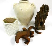 Two Wooden Carvings, a Vase & a Urn