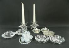 Five Pairs of Candle Holders with a Glass Decorative Flower