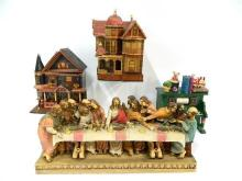 Two Wooden Houses, a Ceramic Last Supper & a Piano Ornament