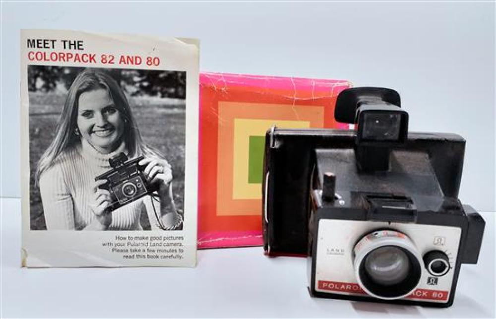 A land camera marked Polaroid Colorpack 80 with original box & instructions, condition unknown, box A.F.