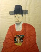 A Korean Painting of an Official, a Yangban, Scholar-Gentry, His Robe Decorated with a Tiger