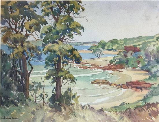 Anton David Riebe (1905-1986) Coastal Landscape Watercolour