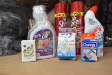 A quantity of cleaning products incl. Harpic, Urine Off & two part tins Mr. Sheen