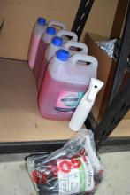 Four 5 litre containers of North Fork floor cleaner & disinfectant plus Ekoworx surface cleaner