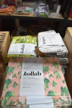 Seven Kollab tote bags plus twelve insulated lunch box bags
